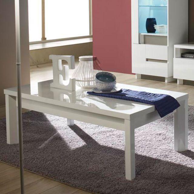 Nouvomeuble Table basse blanche design laquée Liam