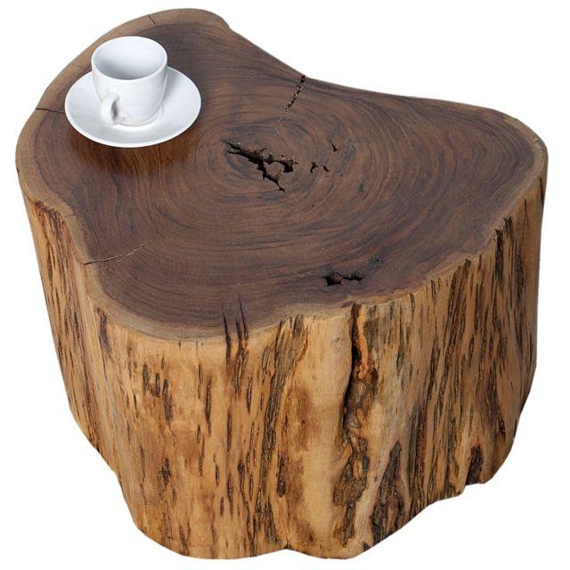 Comforium Table d'appoint design en bois massif d'acacia coloris naturel