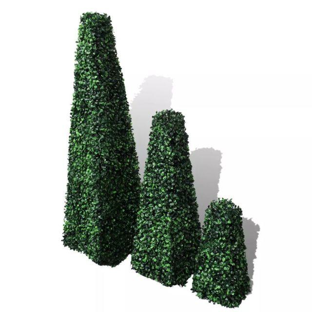 /Ø 30 x 112H cm Vert Outsunny Buis Artificiel topiaire Artificielle en Forme de Boules dim