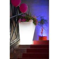 Techneb - Pot ou vase lumineux rectangulaire intérieur extérieur Kiwi blanc, H 63 cm