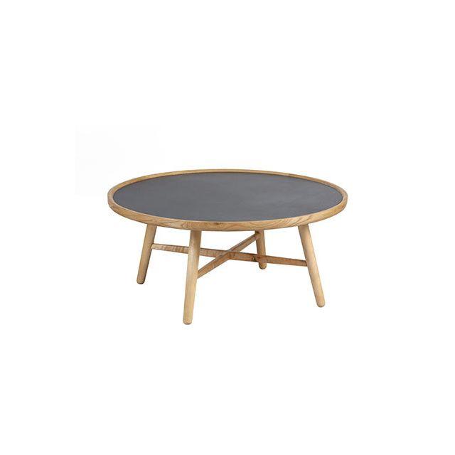 Table basse 85cm diam en frêne et en céramique anthracite
