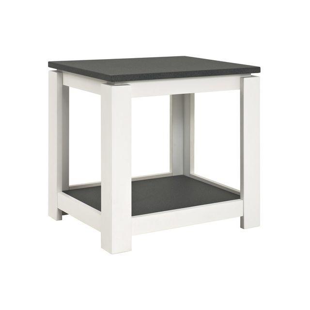 Marque Generique Table d'appoint avec 2 plateaux en bois décors granit L60xH50cm Gramado