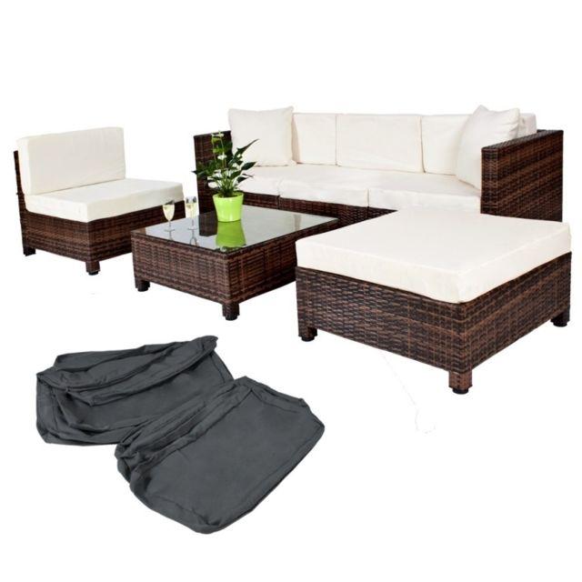 HELLOSHOP26 Salon de jardin rotin résine tressé synthétique marron + coussins + housses 2108002