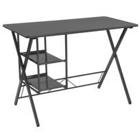 Urban Living - Bureau en métal avec 2 Etagères Design - 105 x H. 75 cm - Noir