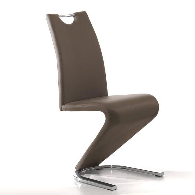 Nouvomeuble Chaise design taupe Pu Lidie pour salle à manger lot de 2
