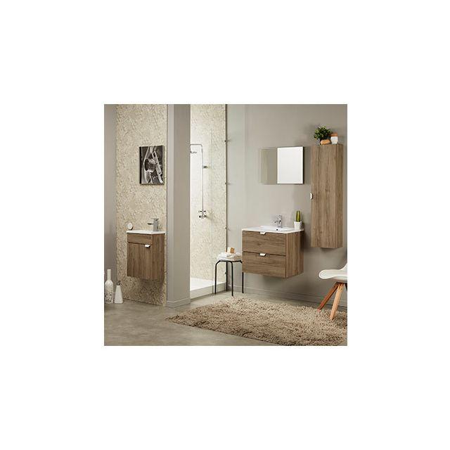 Ensemble vasque 2 tiroirs et miroir décor chêne
