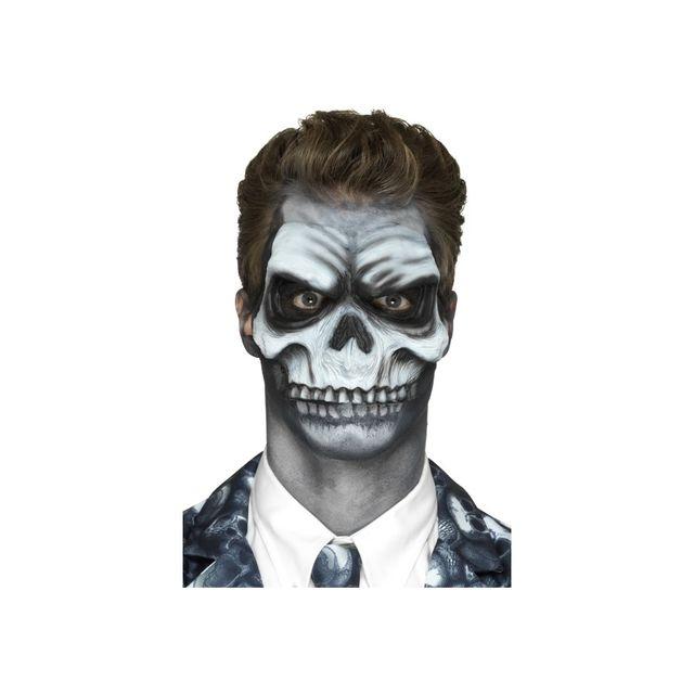 Marque Generique Visage squelette, prothèse en mousse de latex Visage squelette, prothèse en mousse de latex pour homme et pour femme est un cosmétique en forme de crâne blanc à coller sur le visage.