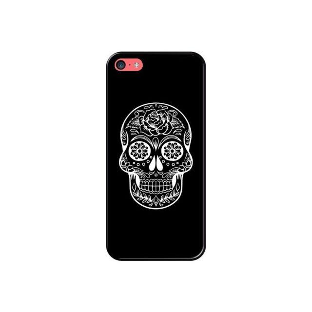 coque iphone 5c tete de mort mexicaine blanche laetitia