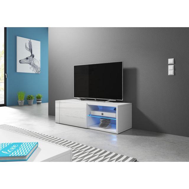 Vivaldi Hit 2 single Meuble Tv Design blanc mat avec blanc brillant. Eclairage à la Led bleue