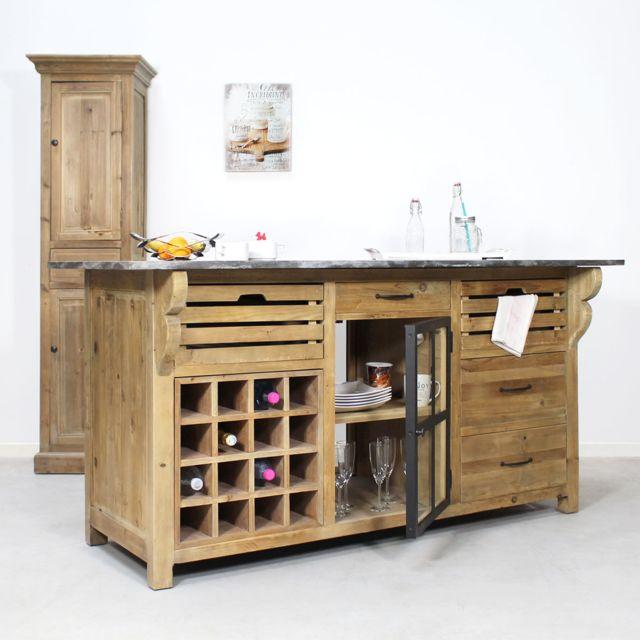 Made In Meubles Centre De Cuisine Range Bouteille Authentiq Pin