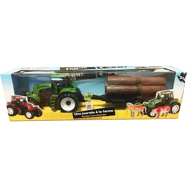 Touslescadeaux coffret tracteur enfant et remorque de bois tracteur vert pas cher achat - Tracteur remorque enfant ...