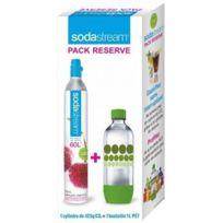 Sodastream - Cylindre Co2 Supplémentaire + 1 Bouteille Bulles Verte Pet 1 L Réf. 3011081