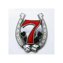 Universel - Boucle de ceinture fer a cheval 7 rouge strass femme pin up