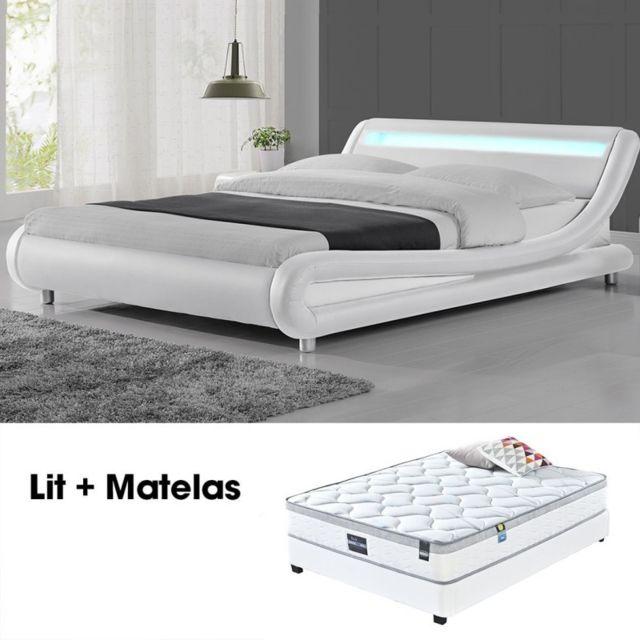 MEUBLER DESIGN Lit led design Julio Blanc 160cm avec Matelas Romance