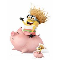 Bebegavroche - Figurine en carton Minion riding a pig H 130 cm