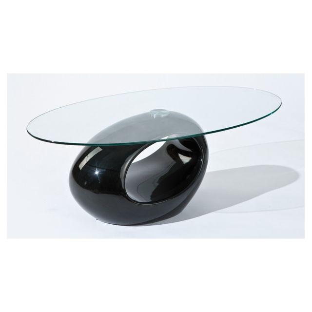 Table basse ovale - Noir - Plateau en verre