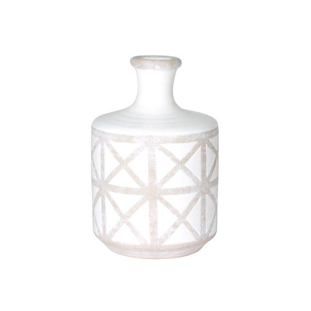 Table Passion Vase en céramique H.24cm motif ethnique taupe / blanc Tolteque