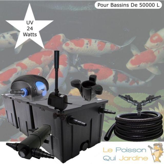 Le Poisson Qui Jardine Kit Filtration Complet, Uv 24W + Écumeur Et Fontaine, Pour Bassins De 50000 L