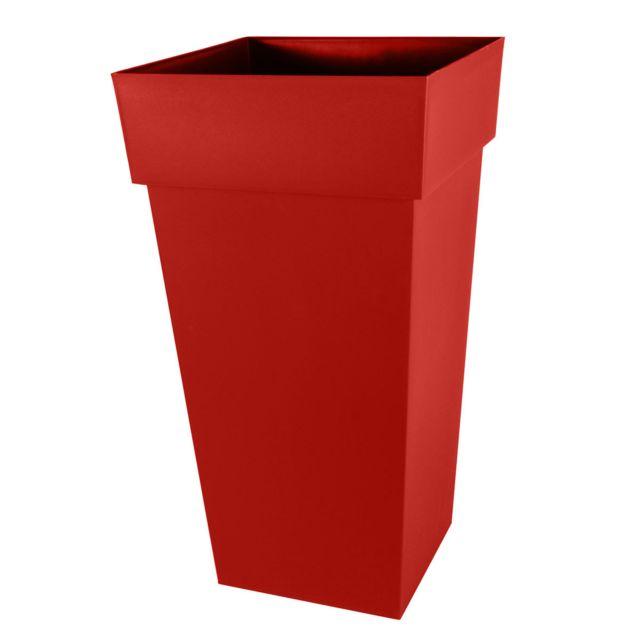 Pot de fleurs Toscane Xxl carré 98 L - rouge