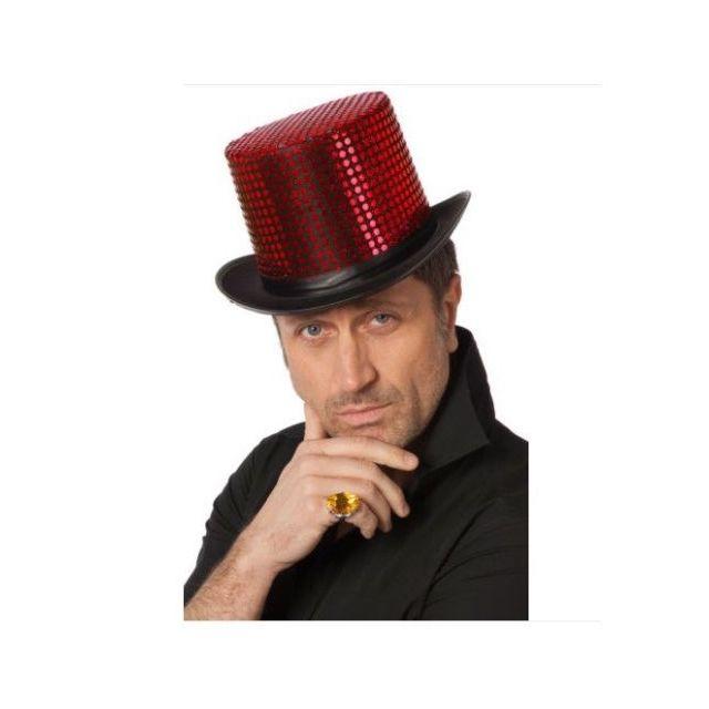 Santex - Chapeau haut de forme aux paillettes-rouge Nc - Taille ... 4351b1434ed