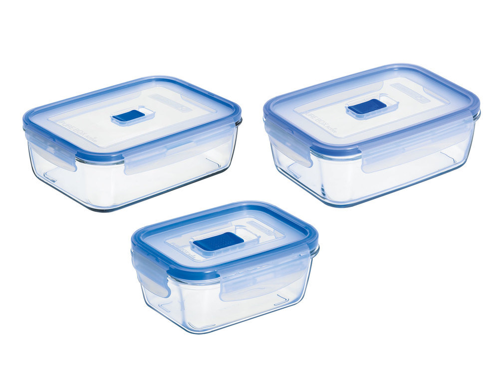 Boîte de conservation en verre avec valve transparent - Set de 3 Pure Box Active - Rectangulaire