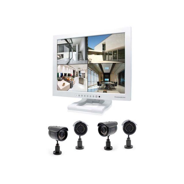 THOMSON - Kit de vidéosurveillance IP - Ecran vidéo couleur 19