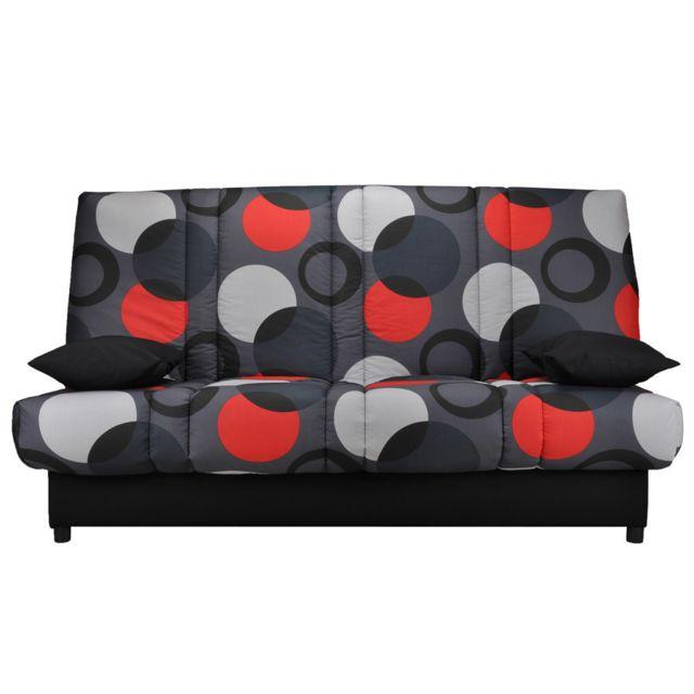 KASALINEA Banquette clic-clac noir gris et rouge APOLLINAIRE