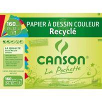 Canson - papier dessin recycle couleur vive 24x32 - paquet de 8f