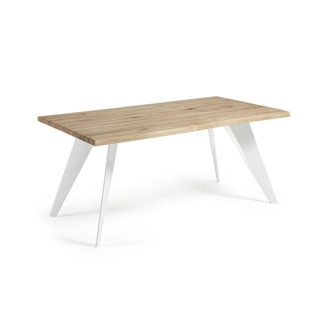 Kavehome Table Koda 180x100 cm, Eopxy blanc et Chêne naturel