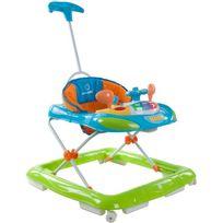 Sun Baby - Trotteur interactif avec poussoir et volant pour bébé 6-12 mois | Bleu, Orange et Vert