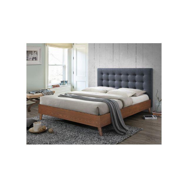 marque generique lit francesco 160x200cm tissu gris et bois pas cher achat vente. Black Bedroom Furniture Sets. Home Design Ideas