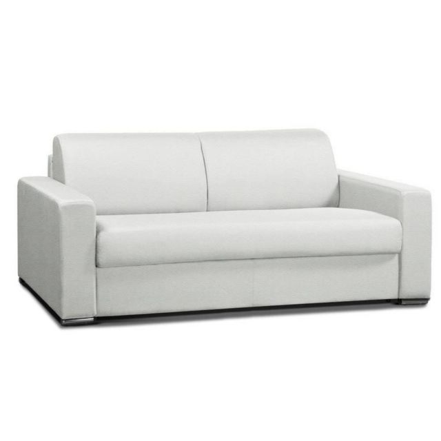 inside 75 canap convertible 2 allure matelas m mory 20cm lattes 120cm cuir vachette blanc. Black Bedroom Furniture Sets. Home Design Ideas
