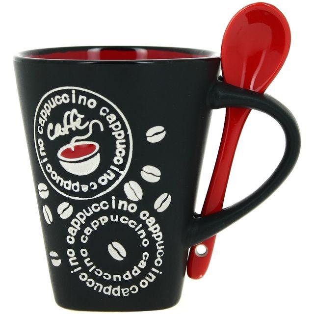 Promobo Mug Tasse à Café Cuillére Rouge Luxe Design Coffee Noir