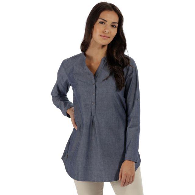 Regatta - Mackayla - Chemise manches longues Femme - bleu - pas cher ... 264775fe73ee