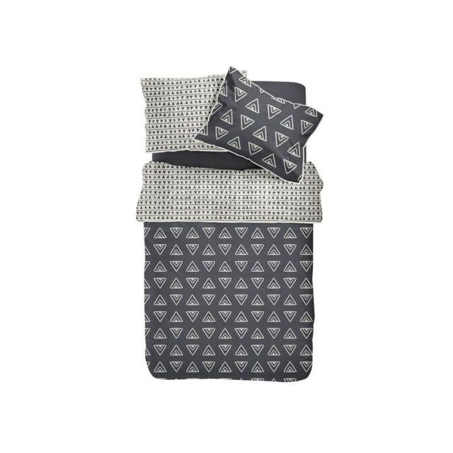 today parure housse de couette taies coton motif triangle gris cru passepoil pompons nappa. Black Bedroom Furniture Sets. Home Design Ideas