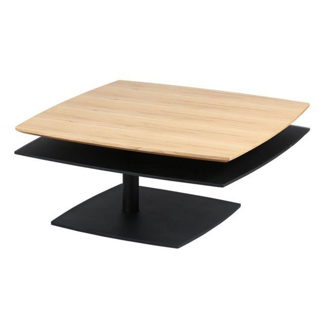 Tousmesmeubles Table basse Bois/Noir - Flamb