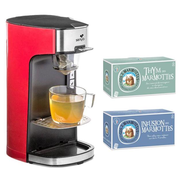 SENYA Set Machine à thé Tea Time rouge avec 2 boîtes d'infusions Les 2 Marmottes Thym + Infusion des Marmottes