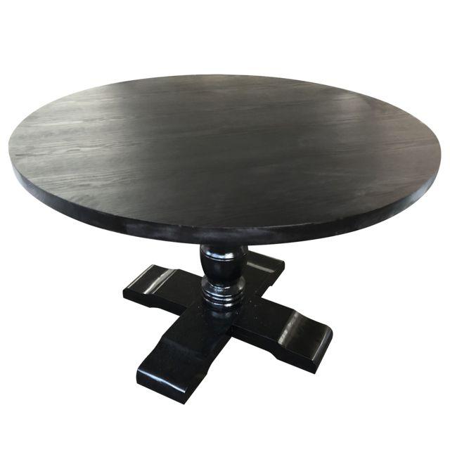 Menzzo Table Ronde Avec Pied Central Country Bois Noir 120cm X
