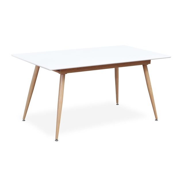 Table extensible style scandinave Betty Blanc - 6 à 8 personnes