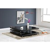 Table Basse Renato Table basse style contemporain noir laqué - L 100 x l  100 cm ede1c45dbf99