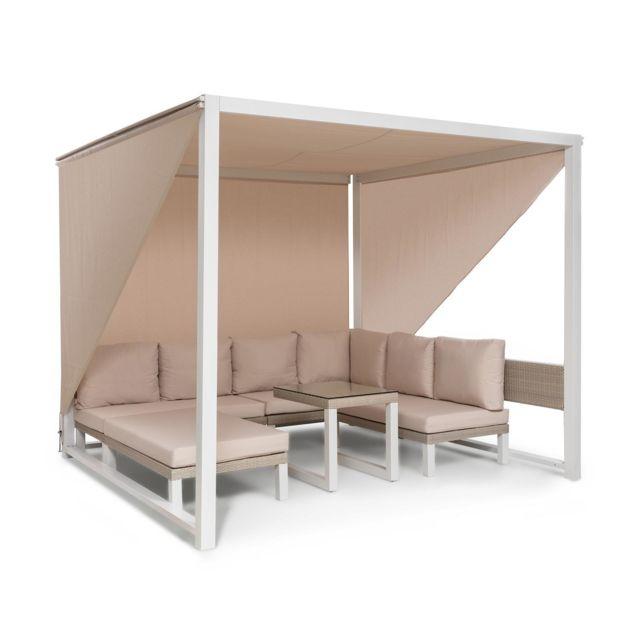 BLUMFELDT Havanna Combiné Pavillon de jardin 270 x 230 x 270cm & salon lounge pour 8 personnes - Polyrotin & polyester - Blanc & t