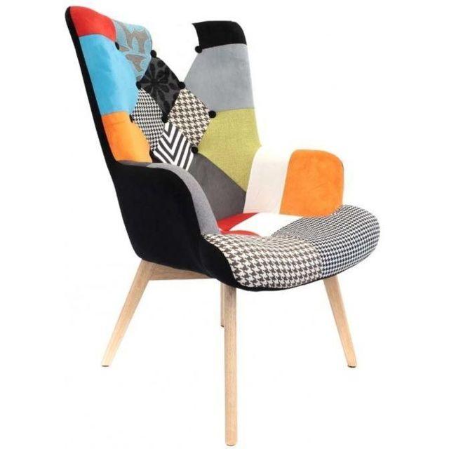 THE HOME DECO FACTORY Fauteuil design coloré patchwork