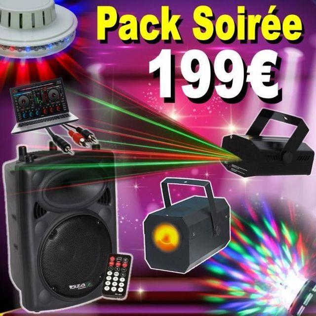 Ibiza Light 1 enceinte amplifiée 300w avec telecommande - bluetooth - usb - câble pc - 3 jeux de lumiere