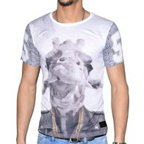 Celebrytees - Celebry Tees - T Shirt Manches Courtes - Homme - Girafe Chaine - Blanc