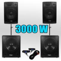 Ibiza - Pack 151515 Sono Dj 3000W Caissons bi-amplifié