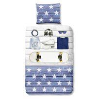 Good Morning - Parure de Couette Boys Room - 1 housse de couette 140x200 cm + 1 taie 60x70 cm bleu. blanc et noir