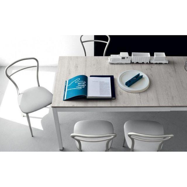 Inside 75 Table extensible Snap déco perle piétement acier laqué blanc 130x90 cm