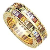 So Chic Bijoux - Bague Anneau Alliance Joaillerie Double Rang Oxyde de Zirconium Multicolore Plaqué Or 750 - Taille 56