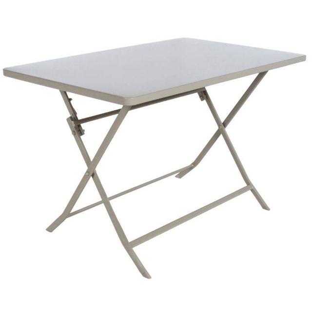 Pegane - Table de jardin pliante en acier coloris taupe clair - Dim ...