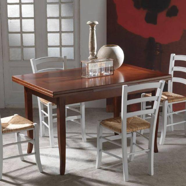 Inside 75 Table repas extensible Brenta finition noyer foncé 130 x 85 cm 2 allonges